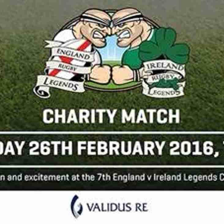 The England v Ireland Legends Charity Match Returns to The Twickenham Stoop, Friday 26th Feb