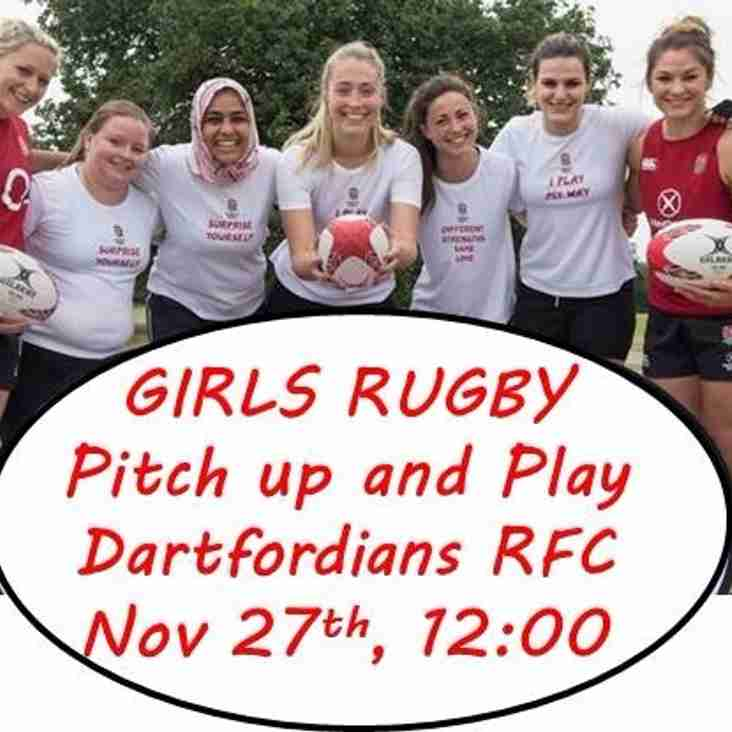 "Dartfordians are hosting a Girls ""Pitch up and Play"" rugby taster sessions - Sunday Nov 27th"