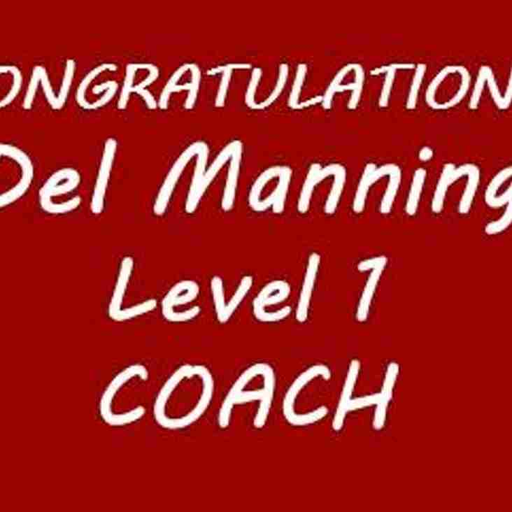 Congratulations Del Manning on passing your Level 1