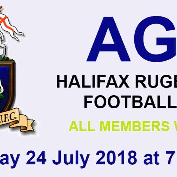 Halifax RUFC AGM 2018