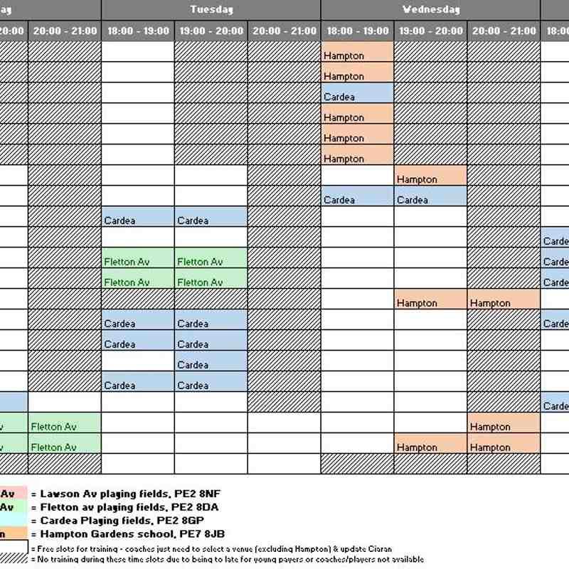 Pumas Spring / Summer training schedule