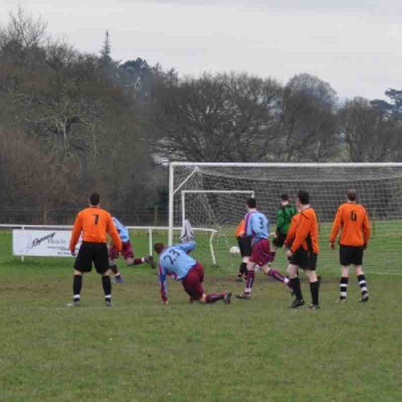 Bontnewydd's Corey Williams scores the opening goal.