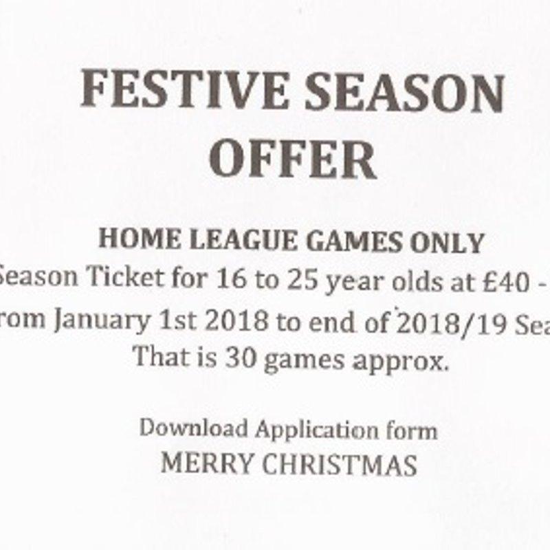 Festive Season Ticket Offer Until 2018/19