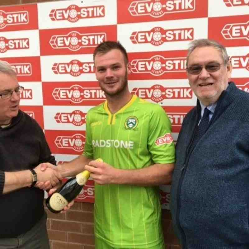 "Declan Towers presented MOTM award by match sponsors ""The Dream Team"""