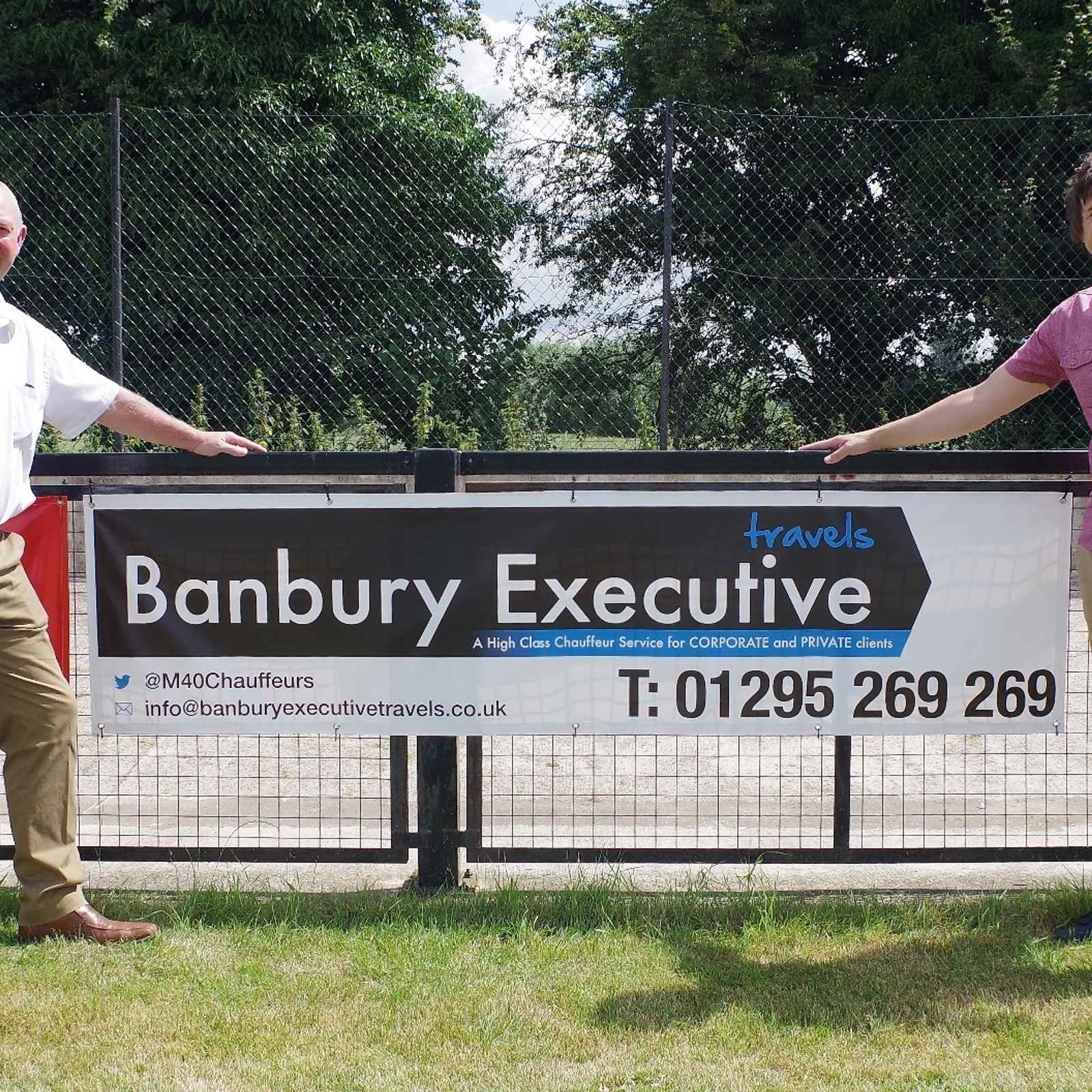 Banbury Executive Travels support the club with pitch side advertising