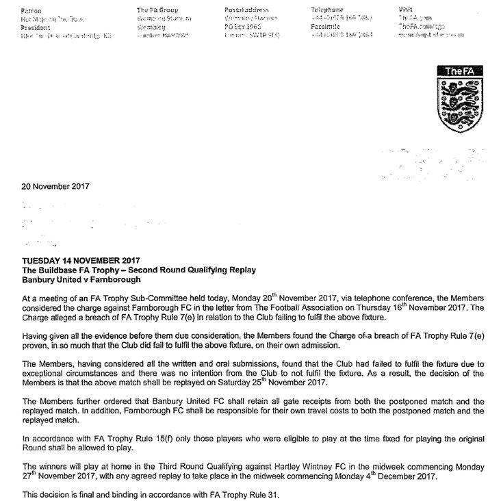 Letter from FA ref Farnborough Game<