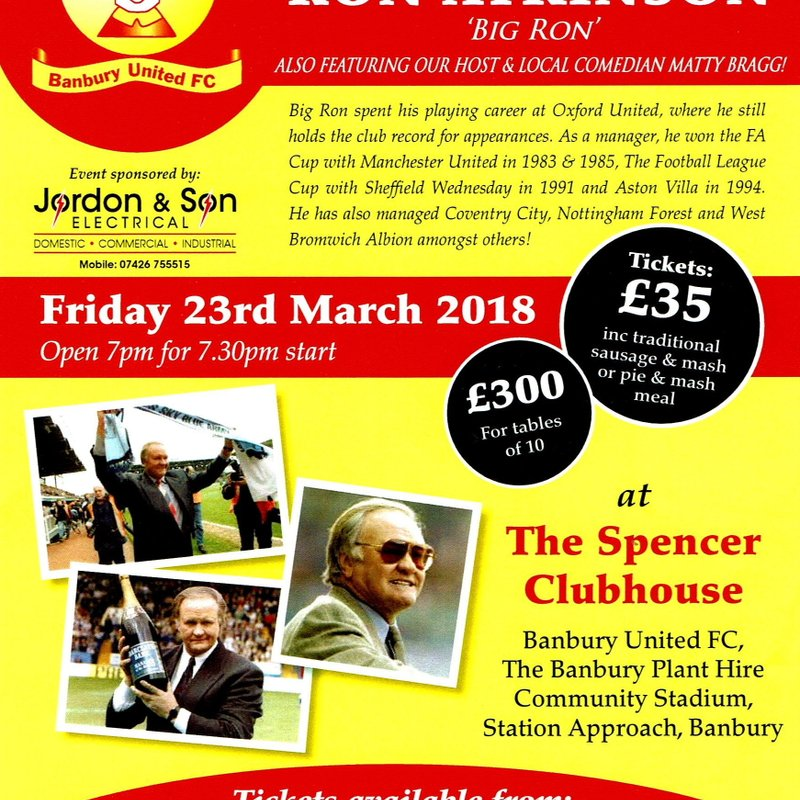 An Evening with Ron Atkinson – Friday 23rd March