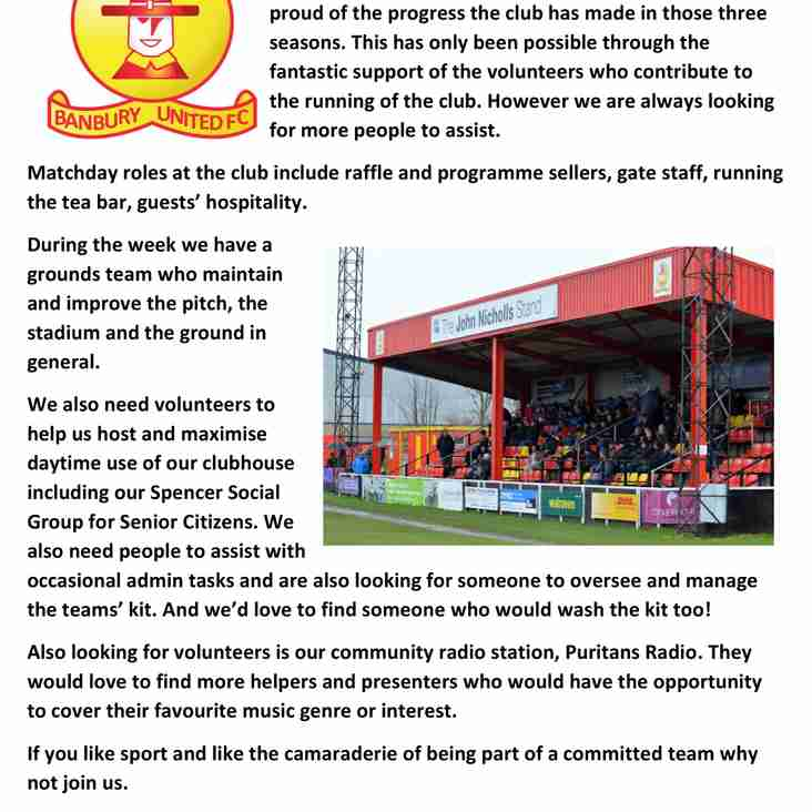 Volunteering Opportunities at Banbury United