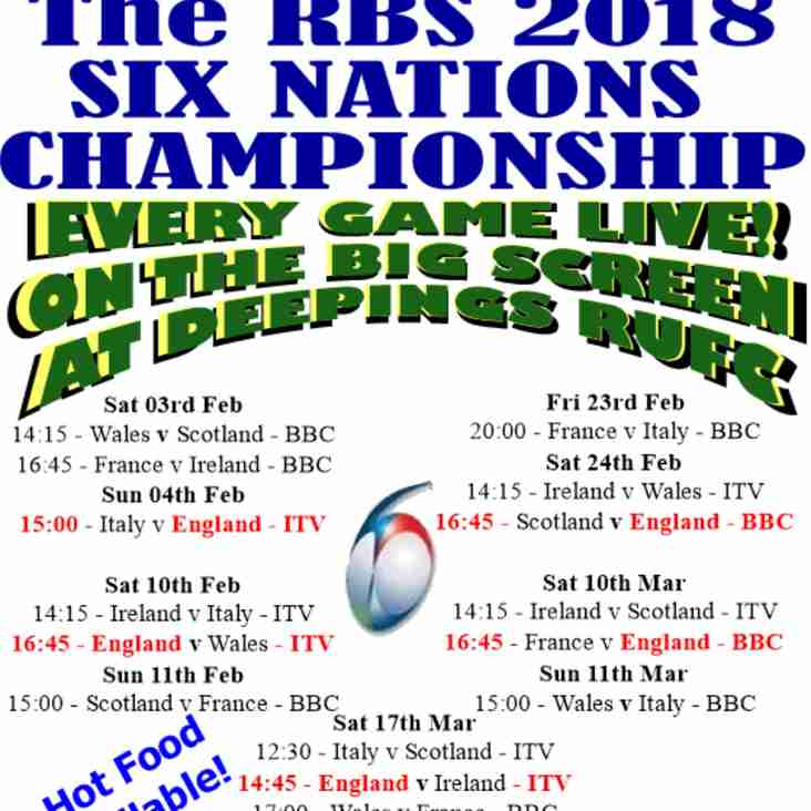 6 NATIONS !!! Everyone welcome! You don't have to be a member to enjoy the great beer prices and fantastic atmosphere!