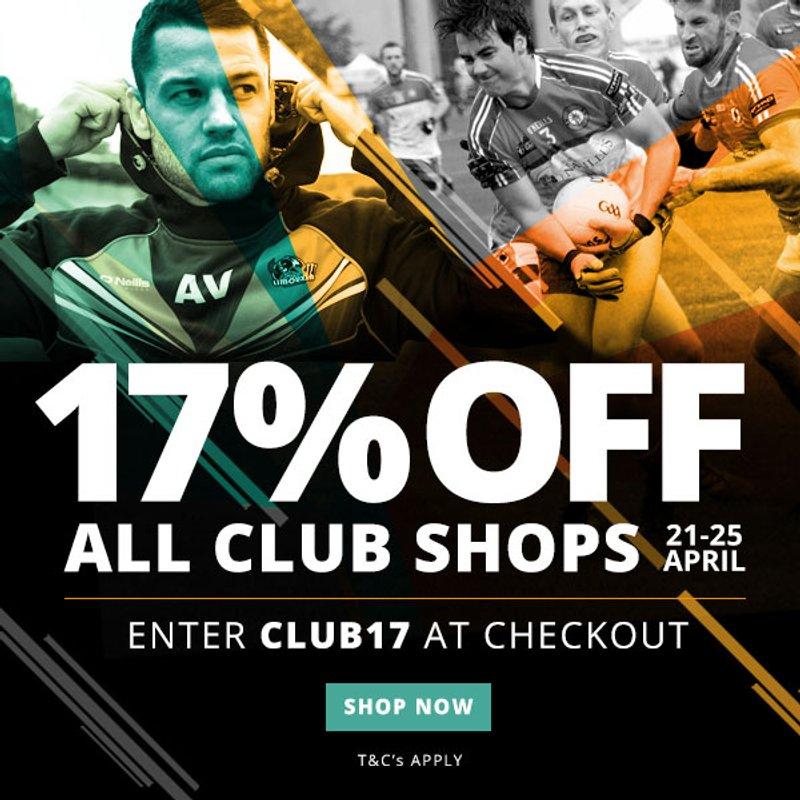 Get 17% off Club Merchandise this weekend!