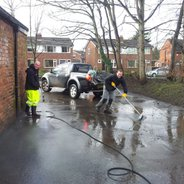 Tim & Anthony do a cracking job cleaning the patio area