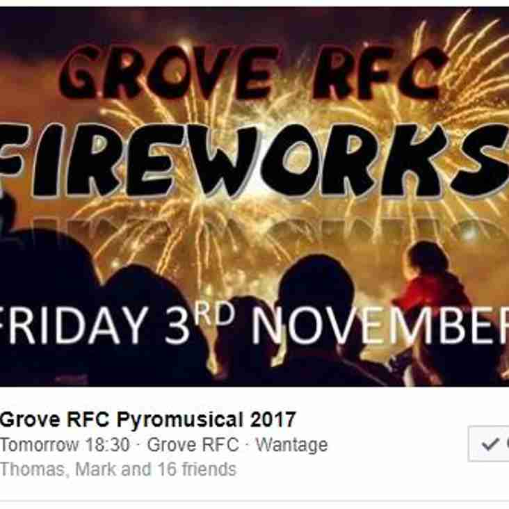 Grove Rugby Club Annual Bonfire with Fireworks to Music