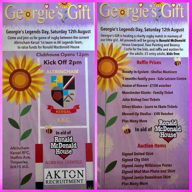 """Georgie's Gift"" AK1XV vs AK Legends Fundraiser Sat 12th August"