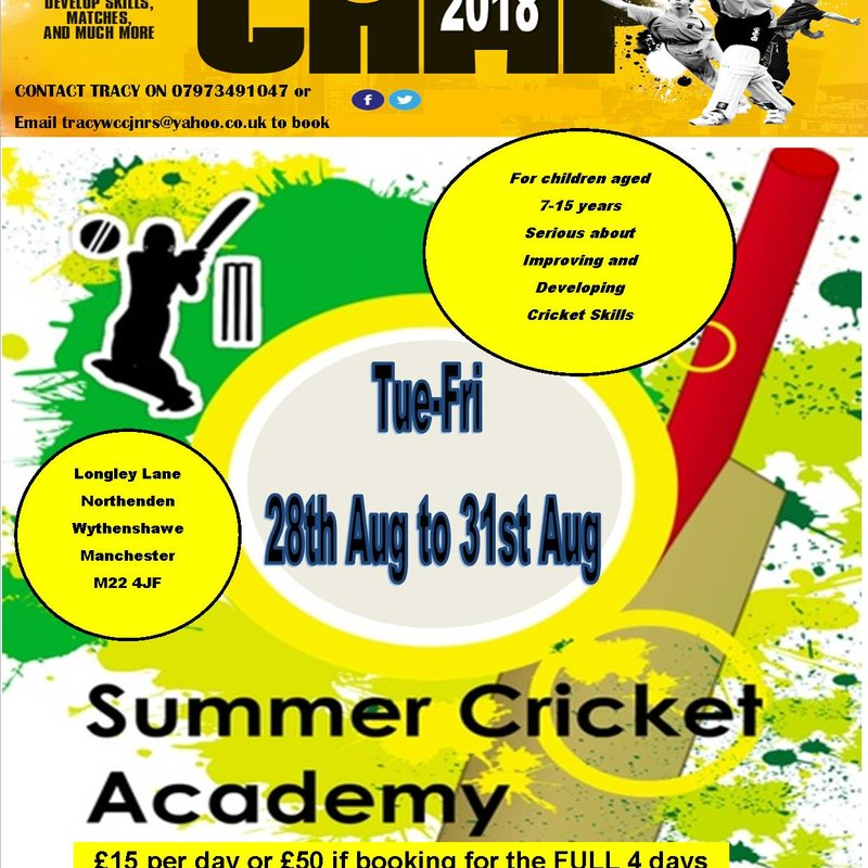 """""""Totally Cricket Skills"""" Summer Camp ~ BOOK on ASAP to reserve a place"""