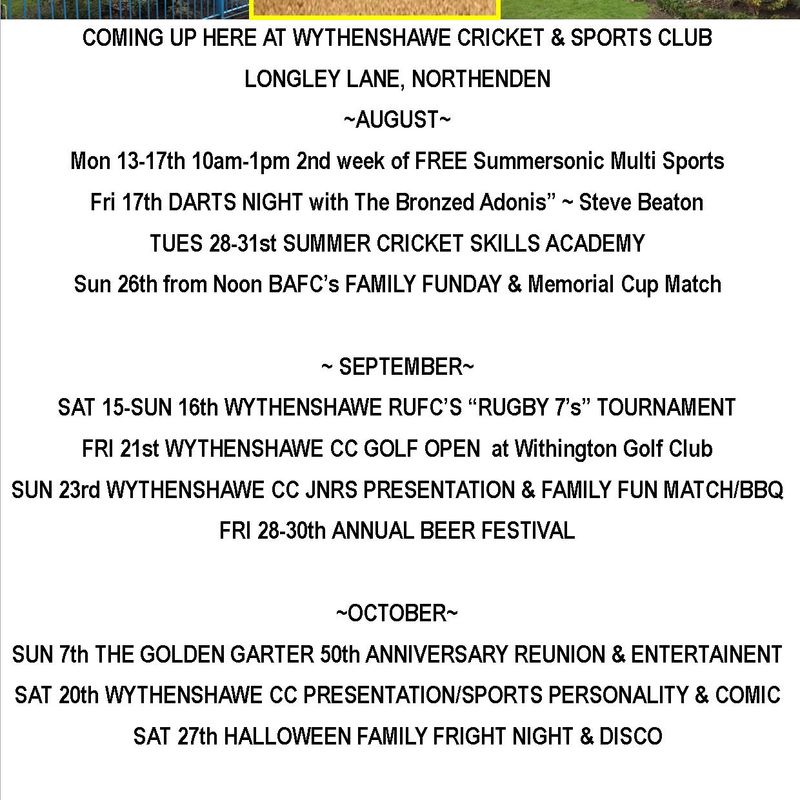 More FANTASTIC events coming up at Wythenshawe Cricket & Sports Club