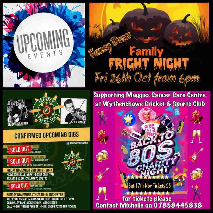 Great Events Coming Up Here At Wythenshawe Cricket & Sports Club