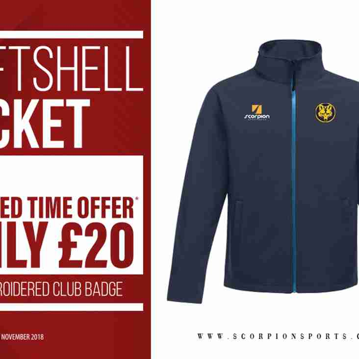 Special offer at the club shop: Softshell jackets at £20 till Nov 30th