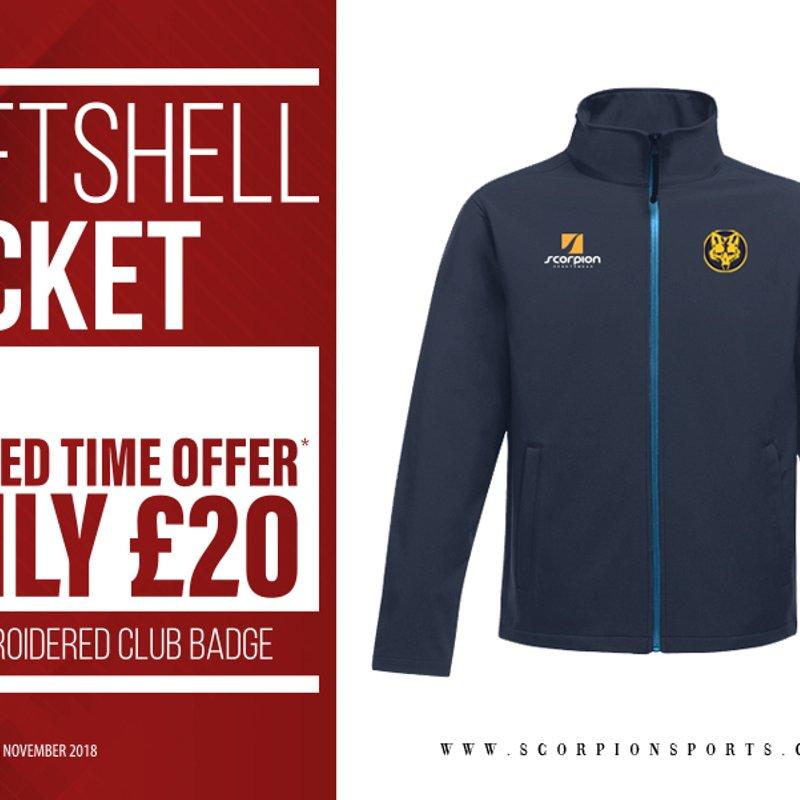 Special offer at the club shop: Softshell jackets at £20 till Nov 30th