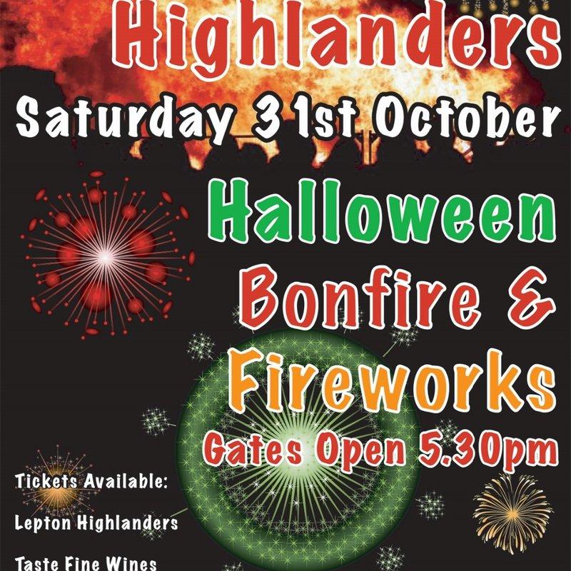 Lepton Highlanders Halloween Bonfire & Fireworks Display