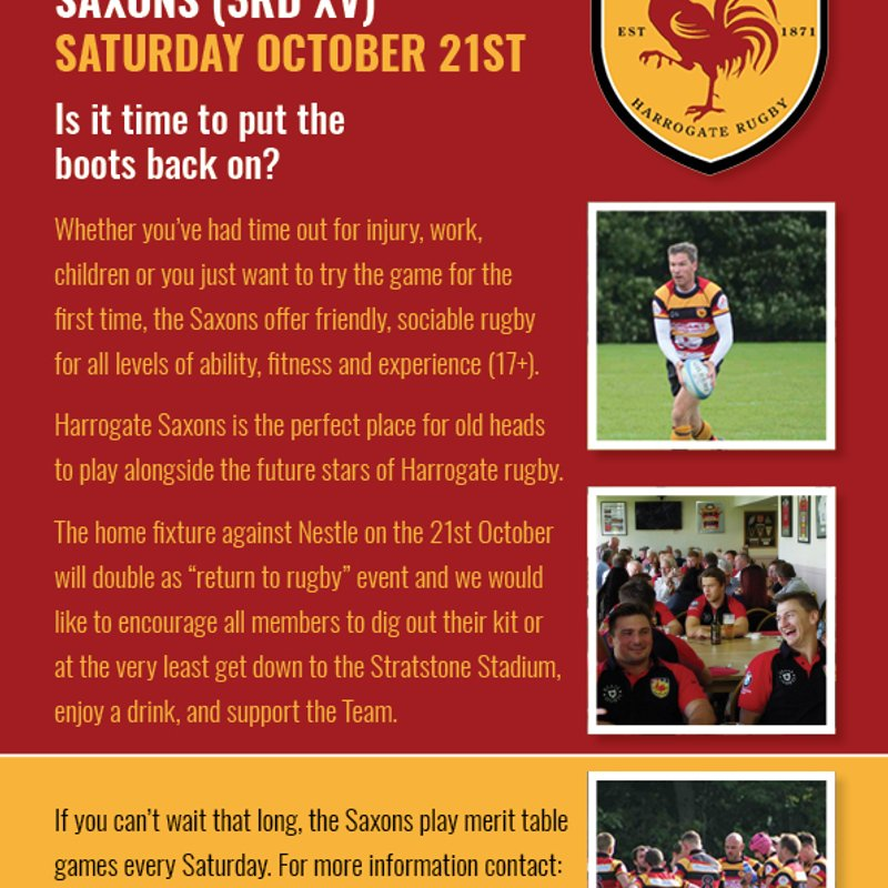 Return to Rugby with Harrogate Saxons - Saturday 21st October