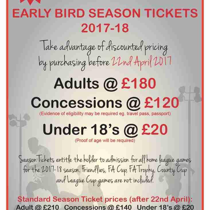 Early Bird Season Tickets now available