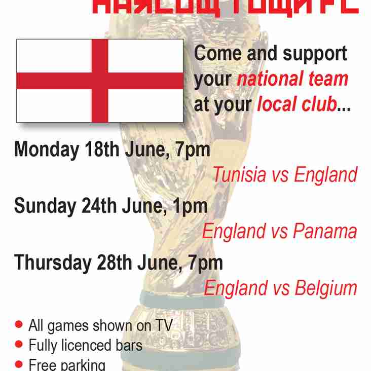 England games on at the Club