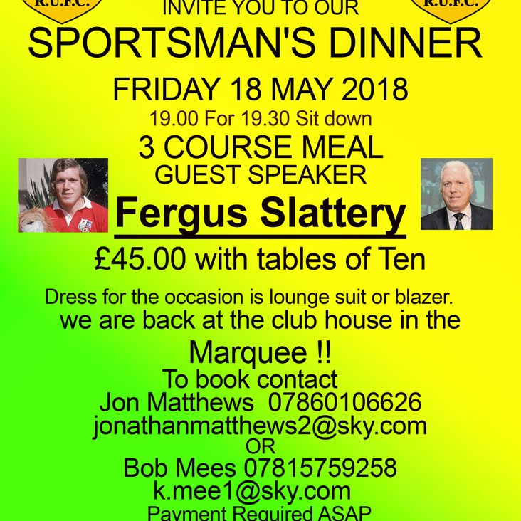 Retford Rugby Club Sportsmans Dinner 2018<