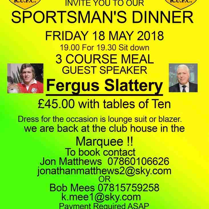 Retford Rugby Club Sportsmans Dinner 2018