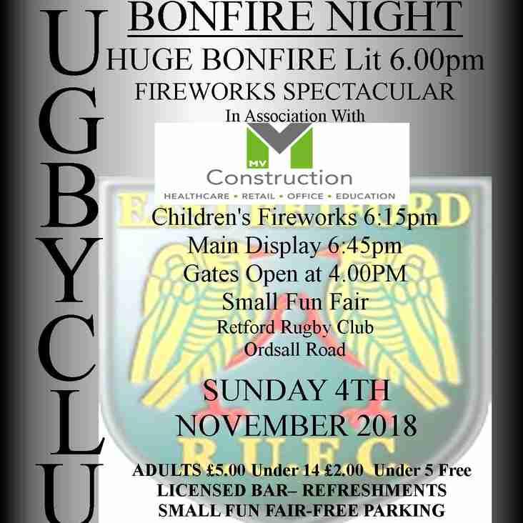 E.R.R.U.F.C Bonfire night  2018