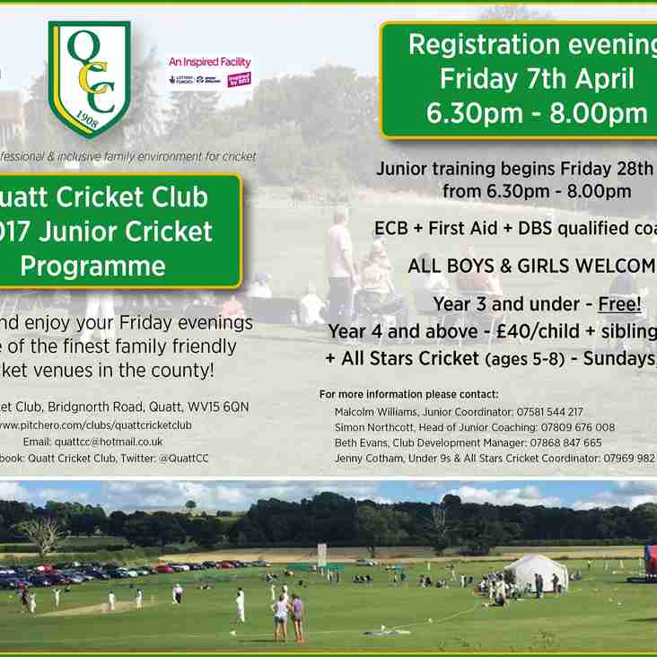 QCC JUNIOR REGISTRATION EVENING