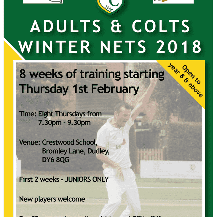 ADULTS & COLTS INDOOR NETS 2018 ON THURSDAY NIGHTS 7.30 - 9.30