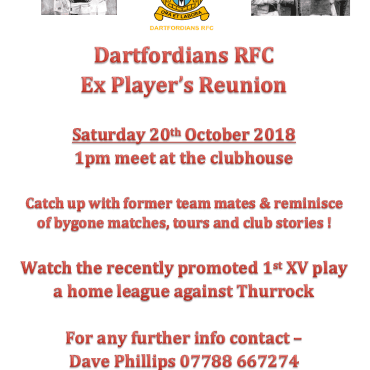 Ex Players Reunion - 20th October