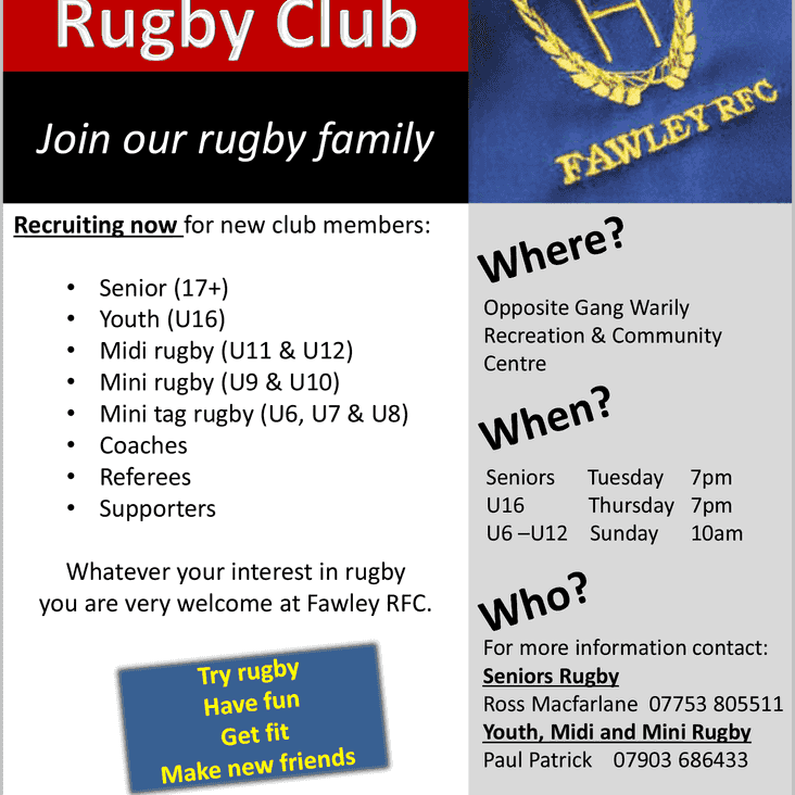Fawley RFC is Recruiting now