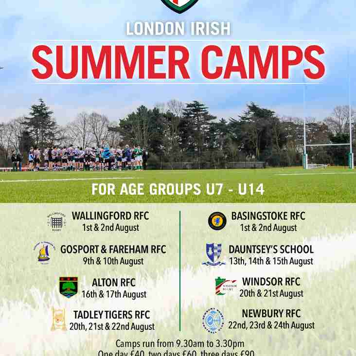 London Irish Rugby Camp at Tadley RFC - Booking now open!