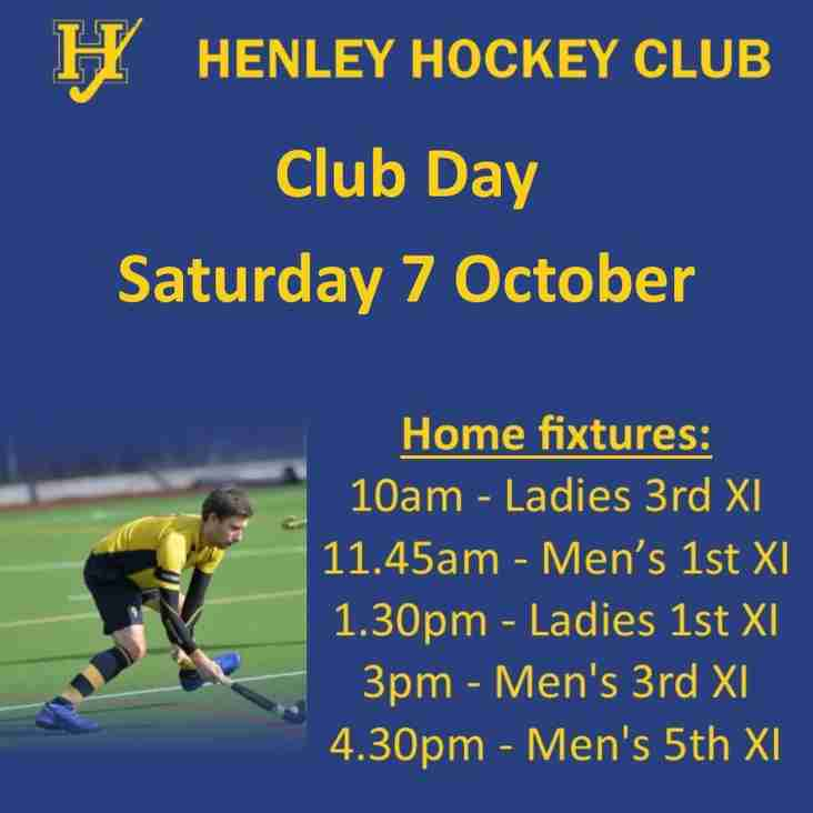 Club Day - Saturday 7 October