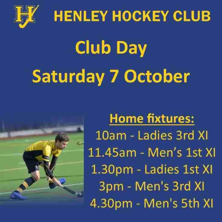 Club Day - Saturday 7 October