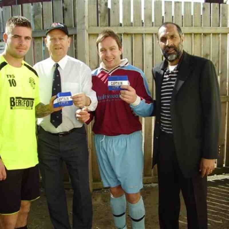 The Premier Division League Cup Final, Sunday 10th April - Hemsworth MW  V  Nightingale . L to R -  Jay Smith Capt. Hemsworth MW , Michael Smith presenting EFVA Captain's Armbands, Alan Gilbert Capt. Nightingale and W&DSFL PR Officer Mr. S. Habib.