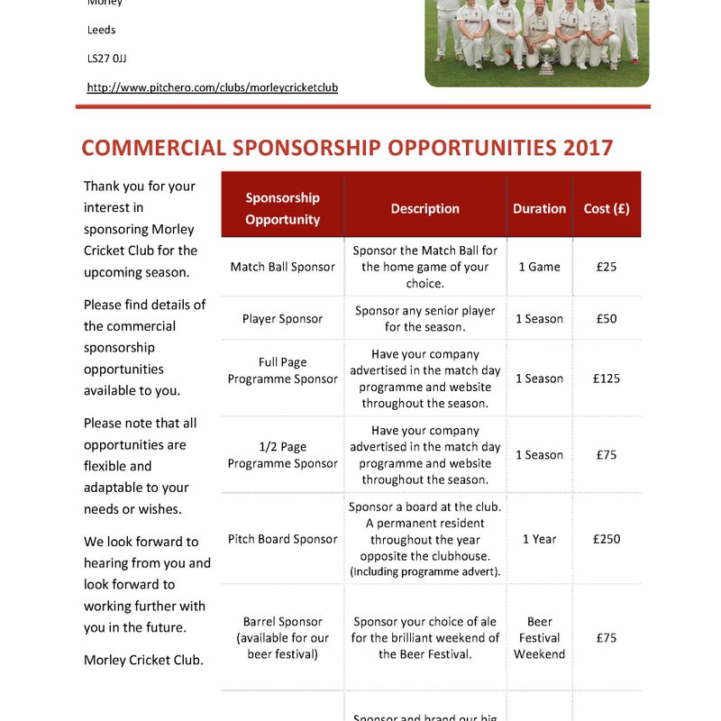 Commercial Sponsorship Packages 2017