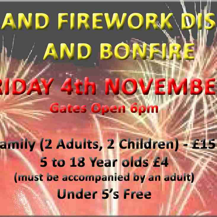 GRAND FIREWORK DISPLAY AND BONFIRE