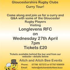 Nick Wood and Friends Q&A Curry Night @longlevensrugby 7pm Wed 27th April