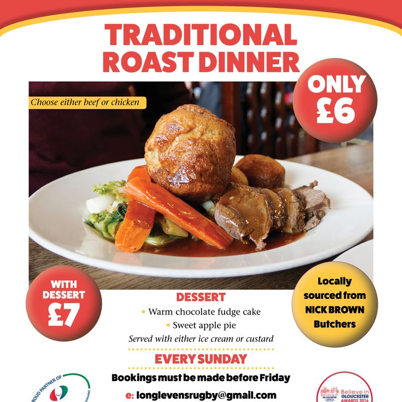 Just £7 for a Two Course Sunday Roast!