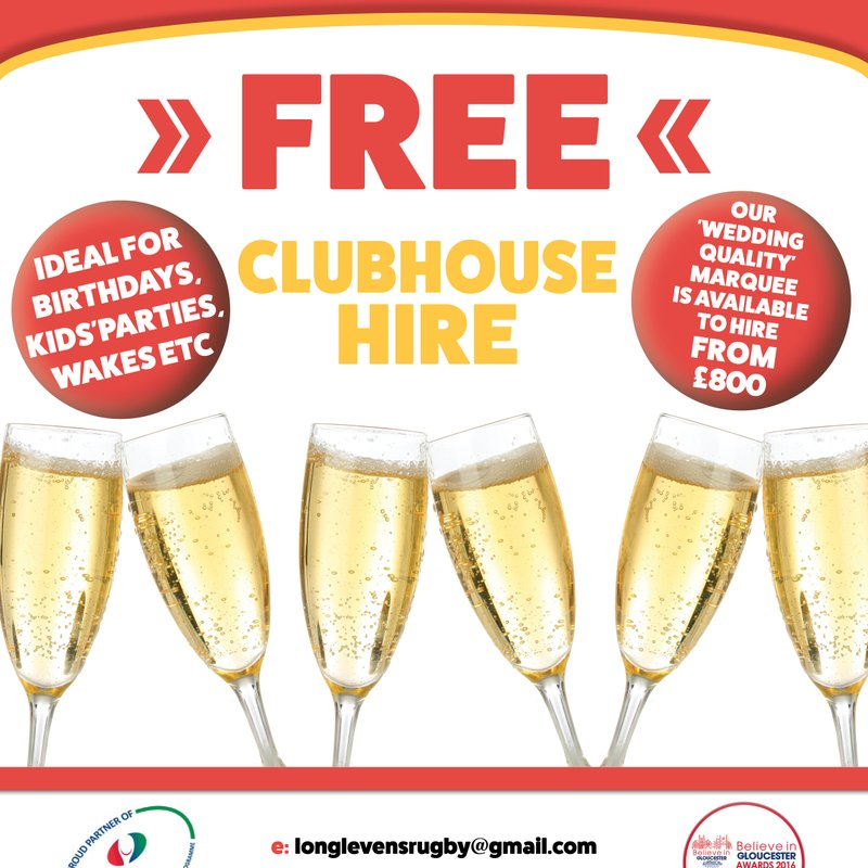 Free Clubhouse Hire and Marquee Hire from £800
