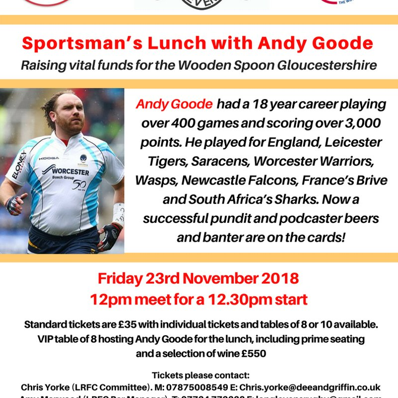 Join Andy Goode for our next Sportsman's Lunch!