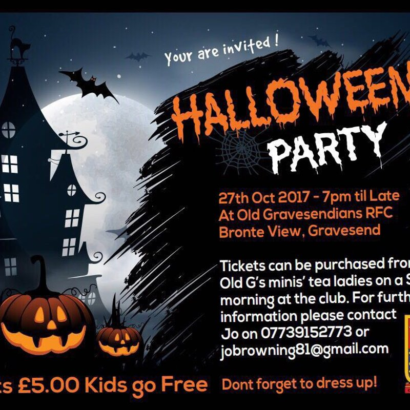Old Gs Halloween Party - Friday 27th October 2017