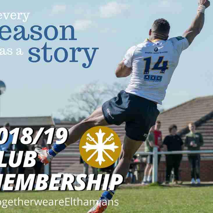 Club Membership for 2018/19 season