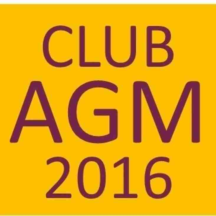 The Club AGM was held at Elliot Road last night - 18th May