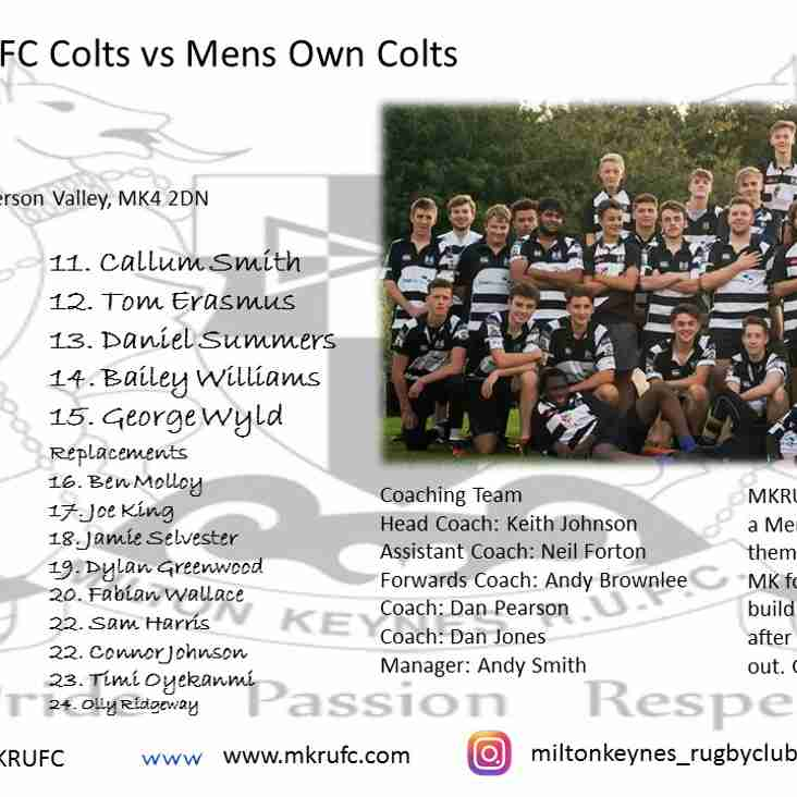 Colts Squad to Face Mens Own