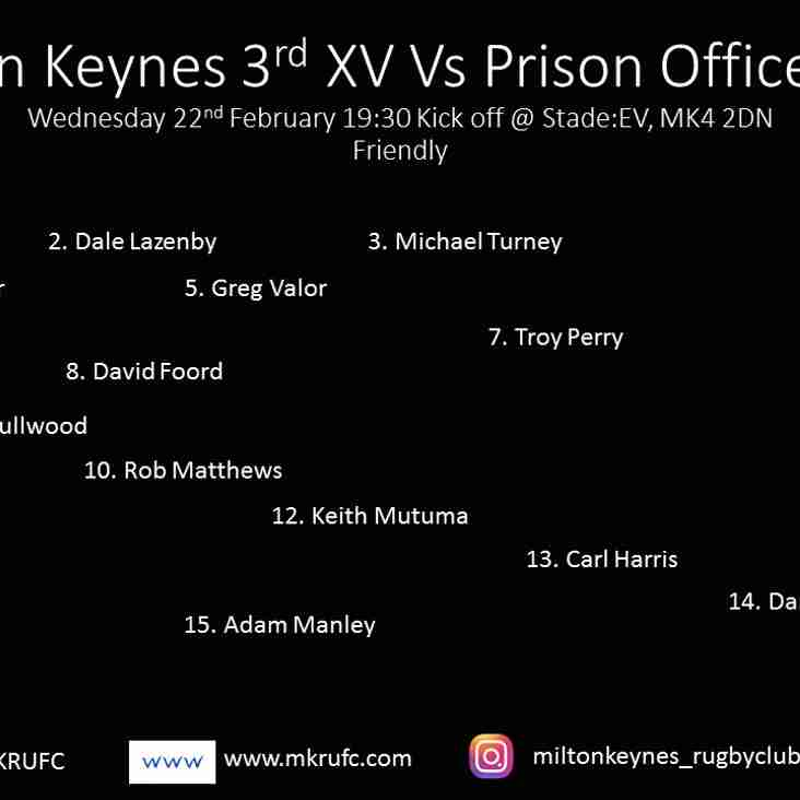 3rd XV vs Woodhill Prison Officers Wednesday Evening
