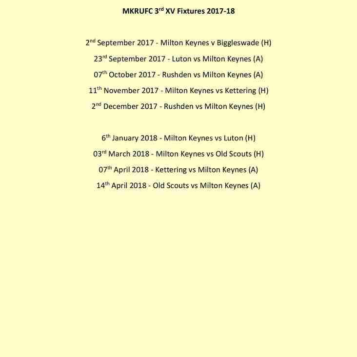 MKRUFC 3rd Team Fixtures