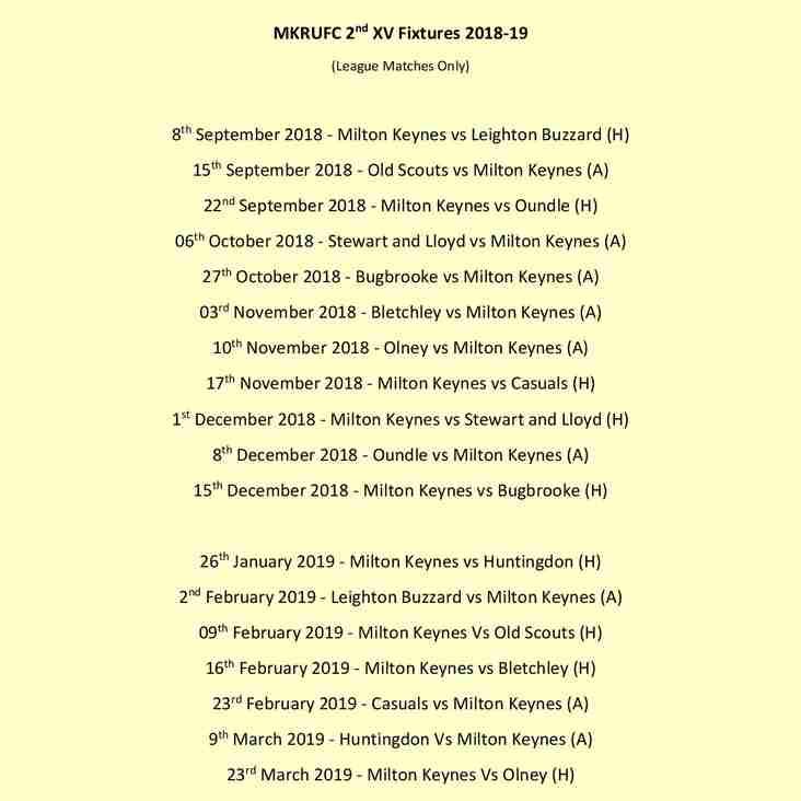 2nd Team Fixtures Announces